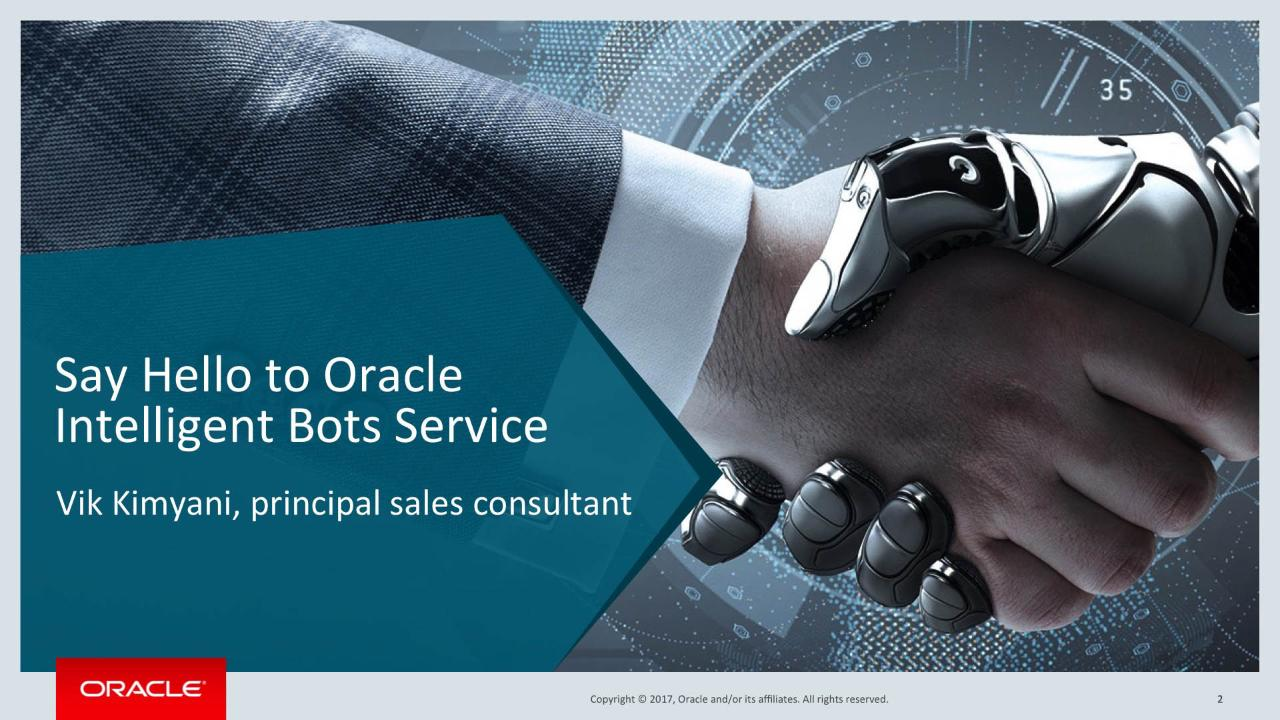 Say Hello to the Oracle Intelligent Bot Service