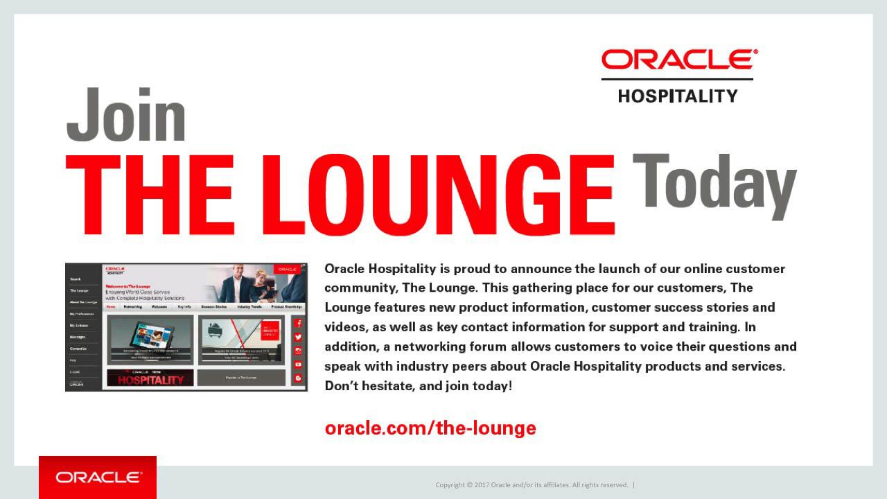 "Join ""The Lounge"" Created by Oracle Hospitality"
